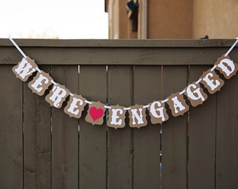 """Photo props """"We're Engaged"""" Bunting Banner Engagement Celebration Party"""