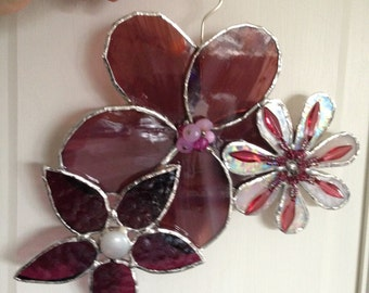 Stained Glass Flower Suncatcher, Pink & Purple