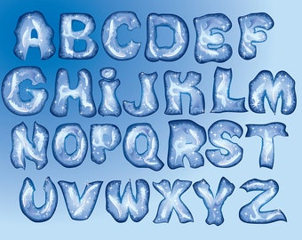 Frozen Alphabet png Digital Clipart Winter Ice Fonts ABC Clip Art Scrapbooking Invitations Printable Graphic INSTANT DOWNLOAD 300 dpi