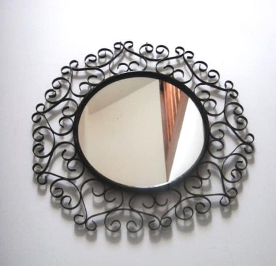Miroir fran ais fer forg vintage 1950 chaty vallauris sign for Miroir fer forge noir