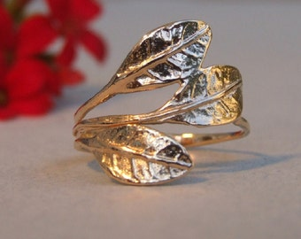 Three Leaves Ring, 14K Yellow Gold Plated Ring