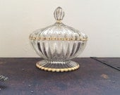 Beautiful Gold Rimmed Vintage Crystal Glass Candy Dish