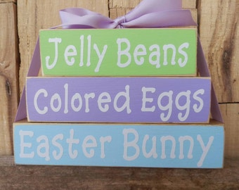 Jelly Beans Colored Eggs Easter Bunny Blocks, Easter Blocks, Easter Sign, Easter Decoration, Easter Wood Blocks, Easter Bunny, Jelly Beans
