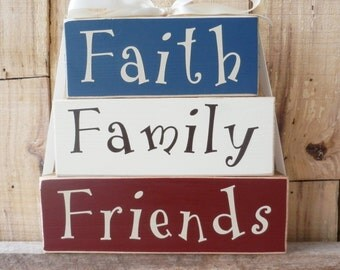 Faith Family Friends, Block Set, Inspirational Sign, Inspirational Quote, Spiritual Sign