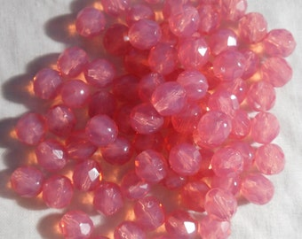25 8mm Czech Rose Opal, Milky Pink round faceted firepolished glass beads C00125