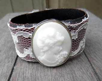 Women's Fancy Red White Lace Cameo Queen Lady Face Brooch Up-Cycled Leather Cuff Bracelet