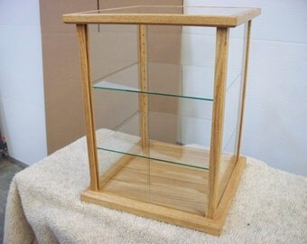 Wood and Glass Doll Display Case - Red Oak -  Mahogany, Cherry, Maple, Oak or Pine options available