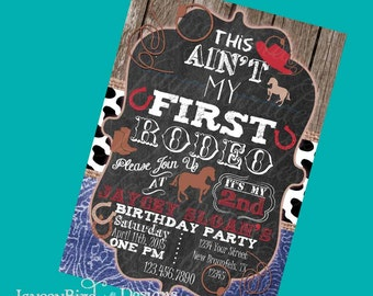 Personalized This Aint My First Rodeo Girls Cowboy Birthday Invitation