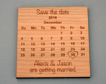 Save the Date magnet - calendar style engraved onto wood.