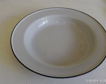 Vintage Enamelware Bowl White with dark blue trim  KER Sweden