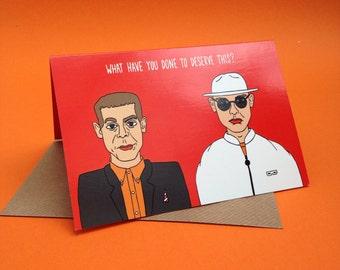 Pet Shop Boys saludos tarjeta de todo color Original ilustración sintetizador electrónico PSB Neil Tennant Chris Lowe de los 80 música humor