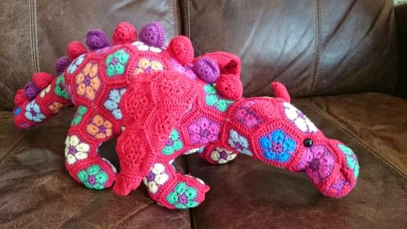 African Flower Crochet Dragon Pattern : Dragon Crochet African Flower Motif Stuffed by ...