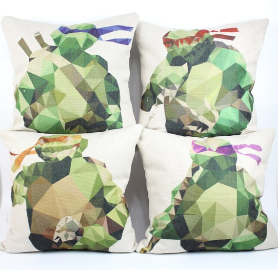 Ninja Turtle Decorative Pillow : Ninja turtle pillow cover Superhero Cartoon Teenage by acsoul