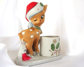 Vintage 1970's Christmas Votive Candleholder, Jasco Deer