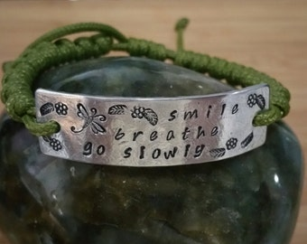 Paracord Prayer Bead Bracelet Smile, Breathe & Go Slowly - CUSTOM MADE with your colors and size with Personalized Aluminum Plate!!