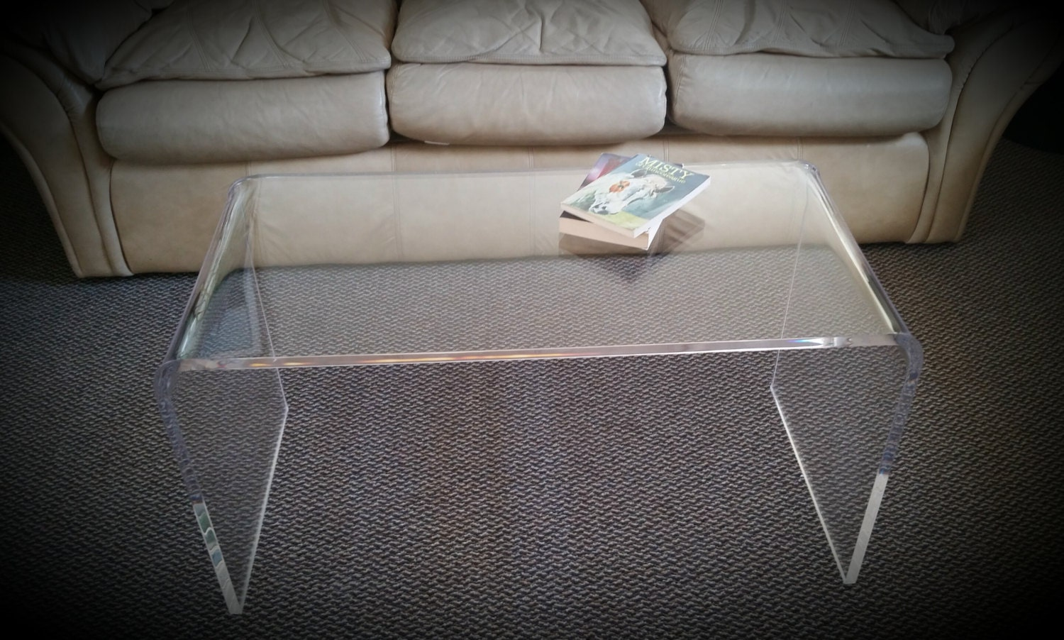 Clear acrylic lucite kira waterfall style coffee Acrylic clear coffee table