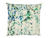Contemporary Cushion Cover - Geometric Pillow - Northmore Minor Teal - Teal, Peacock Green & Sapphire Blue Geometric Pattern