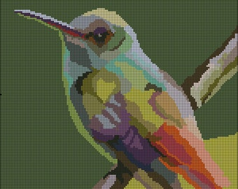 3# Digital Hummingbird Counted Needlepoint Pattern