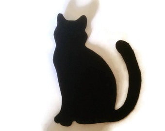 Cat Silhouette Iron On Patch - No Sew - Felt - You Pick the Color