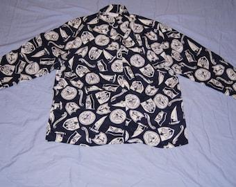 Vintage 1980's -  Talbots Silk Nautical Silk Shirt