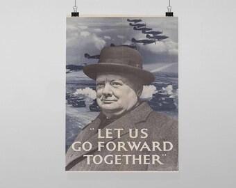 Let Us Go Forward Winston Churchill Propaganda World War - Vintage Reproduction Wall Art Decro Decor Poster Print Any size