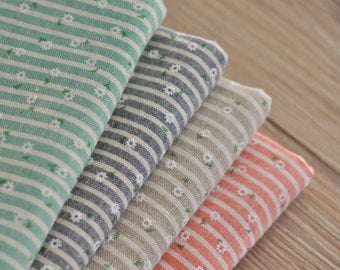 Cotton linen Fabric Stripe with little white daisy, Stripe Fabric, Yarn Dyed Stripe and Print flower  - 1/2 yard