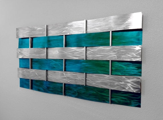 Modern abstract metal wall art sculpture painting teal for Teal wall art