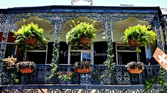 FRENCH QUARTER Balcony ~ New Orleans, LA ~ Wrought Iron Grillwork ~ Hanging Basket and Flowers ~Cajun Decor ~ Creole ~ Louisiana Fine Art ~