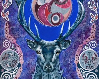 Wild Moon Stag Archival Print