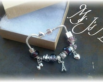 """Purple European Charm Bracelet~13 Charms~Includes 3 Hang Charms & Lock Charm~Fits Pandora Charms~In Gift Box~Great Gift~Fits 7"""" to 8"""""""