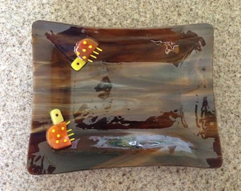 Brown Fused Glass Bug Plate, Stained Glass