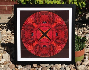 Kaleidoscopic Red Flower a giclee print.