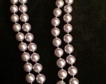 Luxurious Lilac Pearl Necklace, Vintage Beads - Unique!
