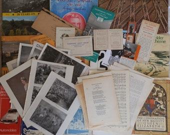 Vintage Ephemera Pack from 1903 - 1980s for Scrapbooking, Crafts, Art, Projects, Collage and Framing