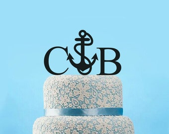 Nautical Cake Topper Wedding-Anchor Cake Topper-Beach Wedding Cake Topper-Personalized Bride & Groom Name Cake Topper-Rustic Wedding Topper