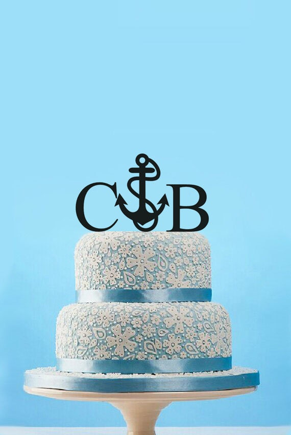 nautische cake topper hochzeit anker cake topper beach. Black Bedroom Furniture Sets. Home Design Ideas