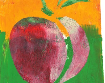 "red pink peach green yellow peach monoprint yellow original print original art ""stucco"""