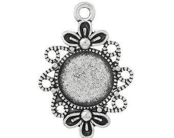 Cabochon version, antique silver, 12 mm stones