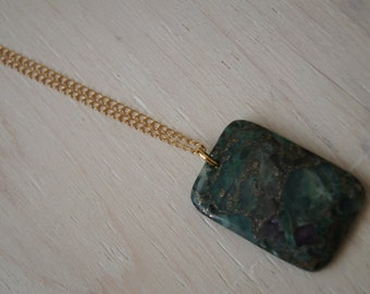 Fluorite and Amethyste Pendant, Boho Chic Necklace, Bohemian Jewelry Yoga Necklace Free People Handmade Gemstone Necklace