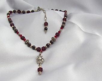 Garnet and Czech glass jewelry set