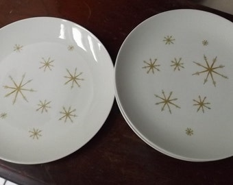 Star Glow dinner plate pattern by Royal China mid century 1950 atomic snowflake