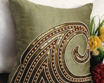 Olive Green beaded pillow, Olive Green decorative pillow, 18x18 Olive Green gold pillow, Olive Green floor pillow, Olive Green beaded throw