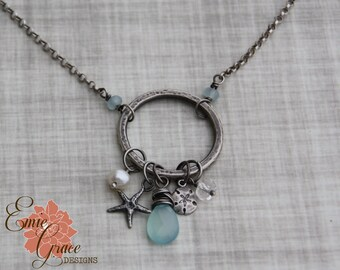 Silver Beach Necklace, Sterling Silver Ring with Sandollar and Starfish, Freshwater Pearl, Blue Chalcedony and Clear Quartz Gemstone