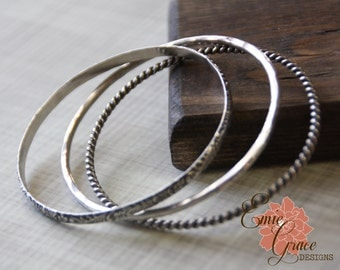 Three Sterling Silver Bangle Bracelets, Bangles Set