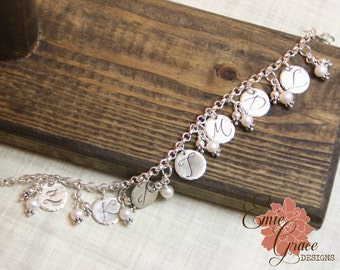 Grandma's Charm Bracelet, Sterling Silver Disks, Intials and Pearls, Mom's Bracelet, Hand Stamped