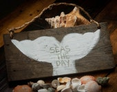 Whale decor Seas the day Rustic beach sign Rustic beach decor Summer decor Lake home decor Beach wood sign Coastal decor Rustic wall hanging
