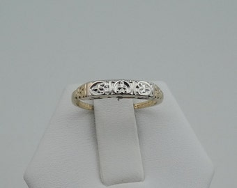 Vintage 1930's 14K White and Yellow Gold Band #WGYG30B-B1