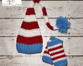 Newborn Dr Seuss hat and leg warmers- Newborn photography prop, newborn boy, newborn girl, crochet newborn hat, crochet newborn leg warmers