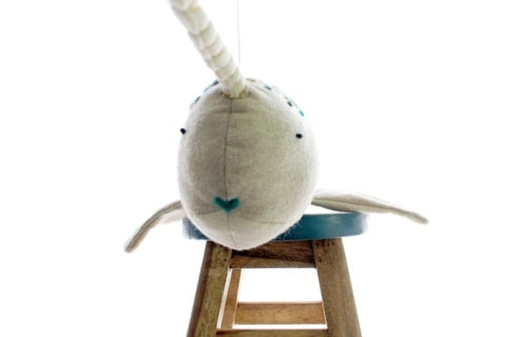 Ready to Ship Oatmeal Hue Narwhal/Handmade Toy/100% Wool Toy/Narwhal/Children's Toy/Plush Toy/Fish Aquatic Toy