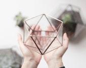 Little Geometric Glass Terrarium / Icosahedron / Handmade Planter / Modern Planter for Indoor Gardening / Ring Pillow Alternative
